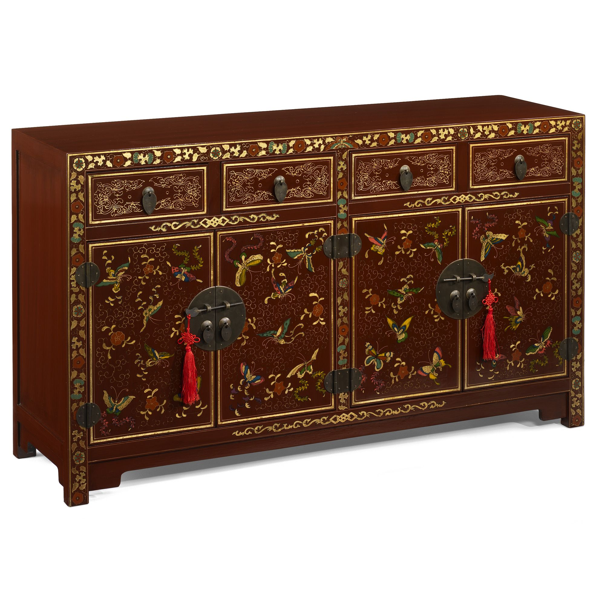 Shimu Chinese Classical Shanxi Butterfly Sideboard - Red Lacquer at Tesco Direct
