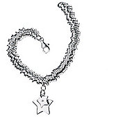 Children's D for Diamond Silver Star Charm Hoop Bracelet