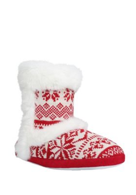 buy f f faux fur trim fair isle bootie slippers from our f. Black Bedroom Furniture Sets. Home Design Ideas