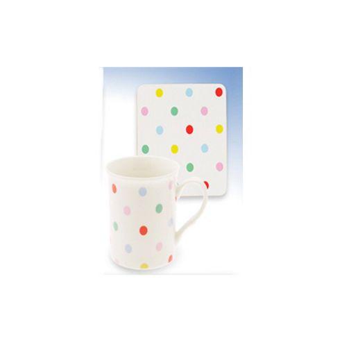 Lesser Lp98124 China Mug & Coaster Set Dotty