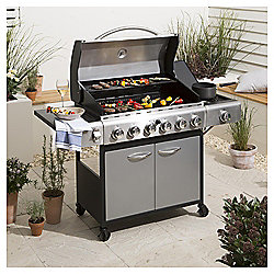 Premium 6 Burner Gas BBQ With Side Burner & Cover, Silver