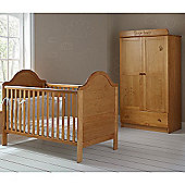 OBaby B is for Bear Cot Bed & Double Wardrobe (Country Pine)