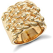 Jewelco London 9ct Solid gold super premium weight 4 row Keeper Ring with roped edges