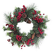 Red Berry and Cone Christmas Wreath, 46cm