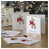 Glitter Reindeer Luxury Christmas Cards, 6 pack