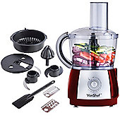 VonShef 2.5L Food Processor 700W, Red