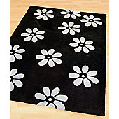 Origin Red Daisi Black Rug - 150cm x 80cm