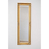 Large Gold Antique Bevelled Dressing Wall Mirror 4Ft1 X 1Ft4 (119Cm X 36Cm)