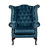 Snug City Queenanne Chair Crushed Velvet Blue Chesterfield Sofa, Made In the UK.