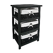 Premier Housewares Storage Unit with Three Maize Baskets - Black