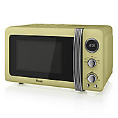 800W Retro Digital Microwave Cream