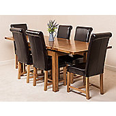 Farmhouse Rustic Solid Oak 160 cm Butterfly Extending Dining Table with 6 Washington Chairs (Black)