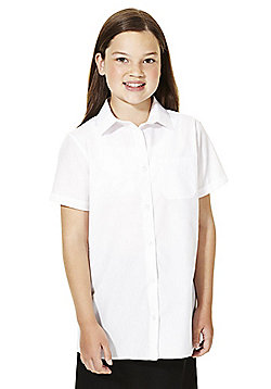 F&F School 5 Pack of Girls Easy Iron Short Sleeve School Shirts - White