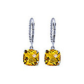 QP Jewellers 7.20ct Citrine Rococo Cushion Twist Earrings in 14K White Gold