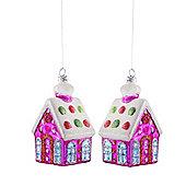 Set of Two Pink Glass House Christmas Tree Baubles