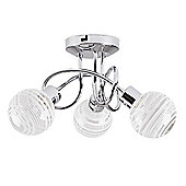 Maze Three Way Cross Over Ceiling Light in Chrome