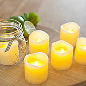 Set of 6 Votive Wax Battery LED Tea Light Candles