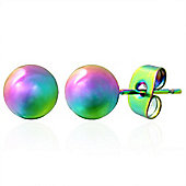 Urban Male Anodised Stainless Steel Ball Stud Earrings For Men 6mm