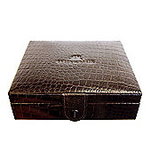 Brown Leather Men's Cufflink & Accessory Box with Cream Interior