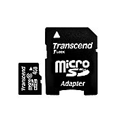 Transcend 4GB MicroSDHC Card Class 2 with 1 Adapter