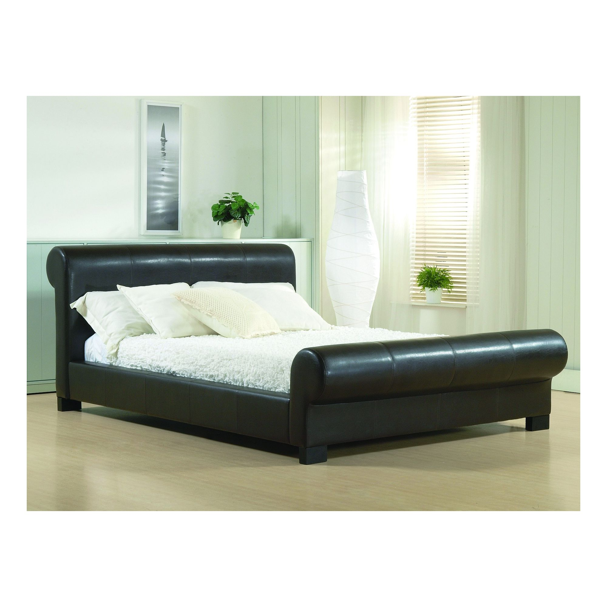 Altruna Valencia Faux Leather Bed Frame - Double - Brown at Tesco Direct