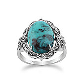 Gemondo 925 Sterling Silver Art Nouveau Turquoise & Marcasite Statement Ring