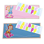 Bigjigs Toys Name Plaque (Fairy) (Pack of 2 - Light Pink and Blue)