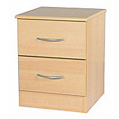 Welcome Furniture Avon 2 Drawer Bedside Chest with Locker - Light Oak