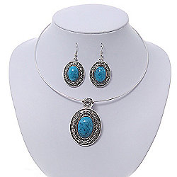 Turquoise Oval Medallion Flex Wire Necklace & Earrings Set In Silver Plating - Adjustable
