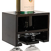 Merlot - Wall Mounted Wine Bottle / 2 Glass Rack - Black