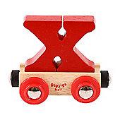 Bigjigs Rail Rail Name Letter X (Dark Red)