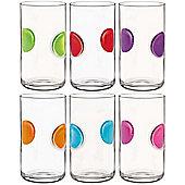 Bormioli Rocco Giove Water Tumbler Glasses - Set Of 6 - Multi Coloured - 490ml