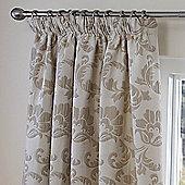 Julian Charles Portia Natural Luxury Jacquard Lined Pencil Pleat Curtains - 168x183cm