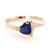 QP Jewellers 1.0ct Sapphire Devotion Heart Ring in 14K Rose Gold
