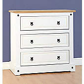 Corona 3 Drawer Chest in White/Distressed Waxed Pine