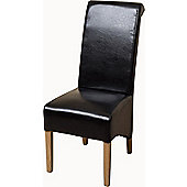 x12 Montana Scroll Black Black Leather Dining Chairs