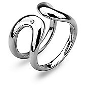IT Diamonds Rhodium HORSE SHOE Diamond Stylish Double Shank Ring
