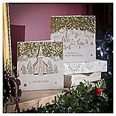 Gold Town Scene Luxury Christmas Cards, 10 pack