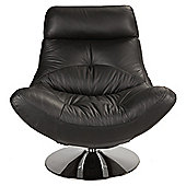 Swivel Leather Chair Black