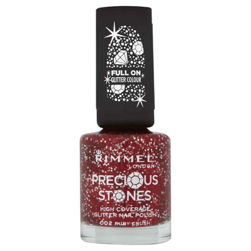 Rimmel London Precious Stones High Coverage Glitter Nail Polish 002 Ruby Crush 8ml