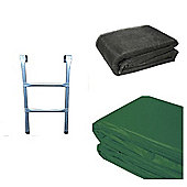 8 Ft Trampoline Accessory pack - Green Pad, Netting and Ladder