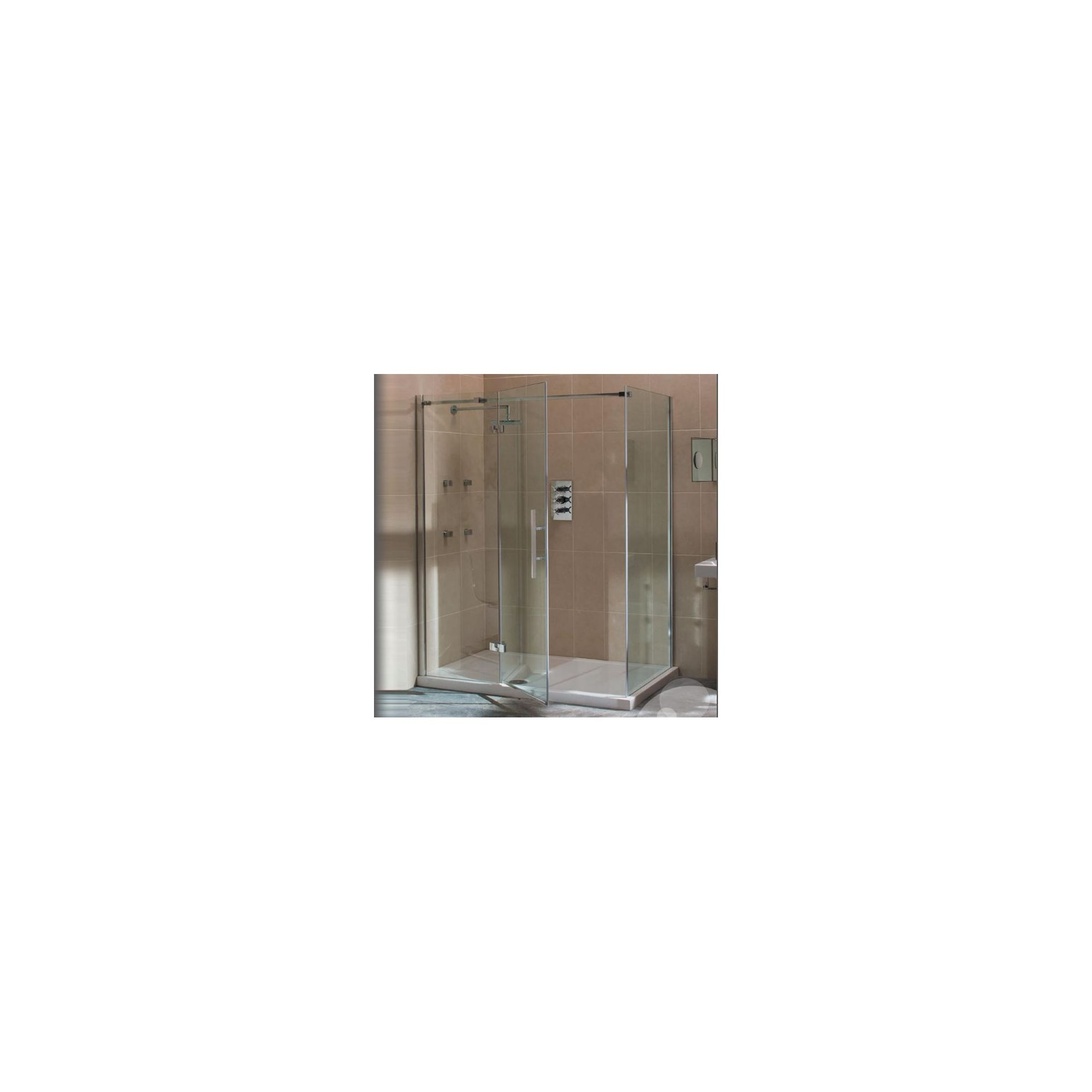 Merlyn Vivid Nine Hinged Door Shower Enclosure with Inline Panel, 1200mm x 800mm, Left Handed, Low Profile Tray, 8mm Glass at Tescos Direct