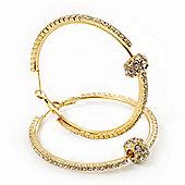 Clear Swarovski Crystal With Ball Hoop Earrings In Gold Plated Metal - 5.5cm Diameter