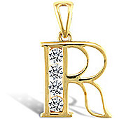 Jewelco London 9ct Gold CZ Initial ID Personal Pendant, Letter R - 1.7g