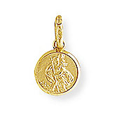 Jewelco London 9ct Yellow Gold - St. Christopher Medallion Charm Pendant -
