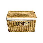 Natural Divided Willow Wicker Laundry Basket Chest with Lid