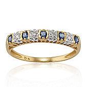 Gemondo 9ct Yellow Gold 0.24ct Natural Sapphire & Diamond Half Eternity Ring