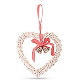 White Wicker Heart Hanging Decoration with Ribbon & Bell