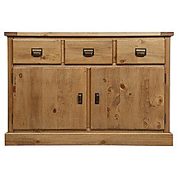 Portobello 3 Drawer 2 Door Sideboard, Rustic Pine