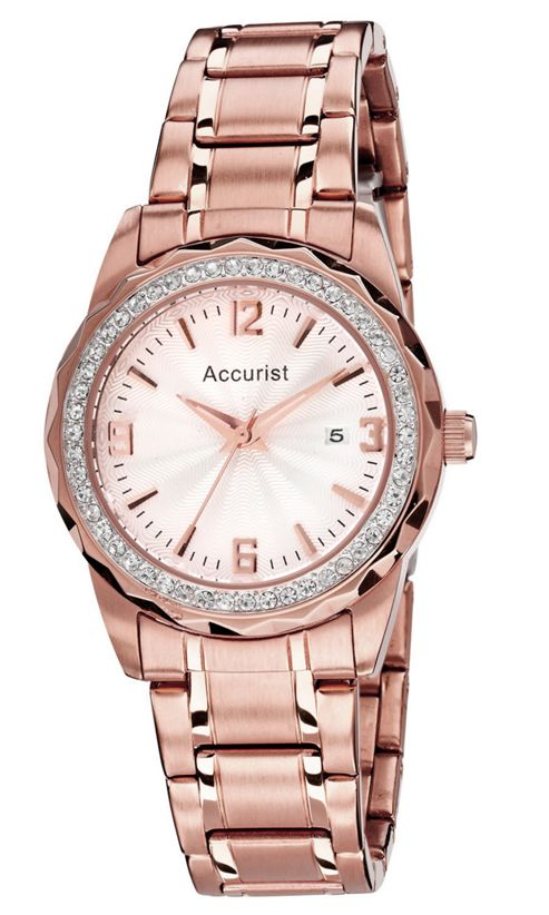 Accurist Ladies Rose Gold Ion-plated Date Swarovski Crystal Watch LB1685